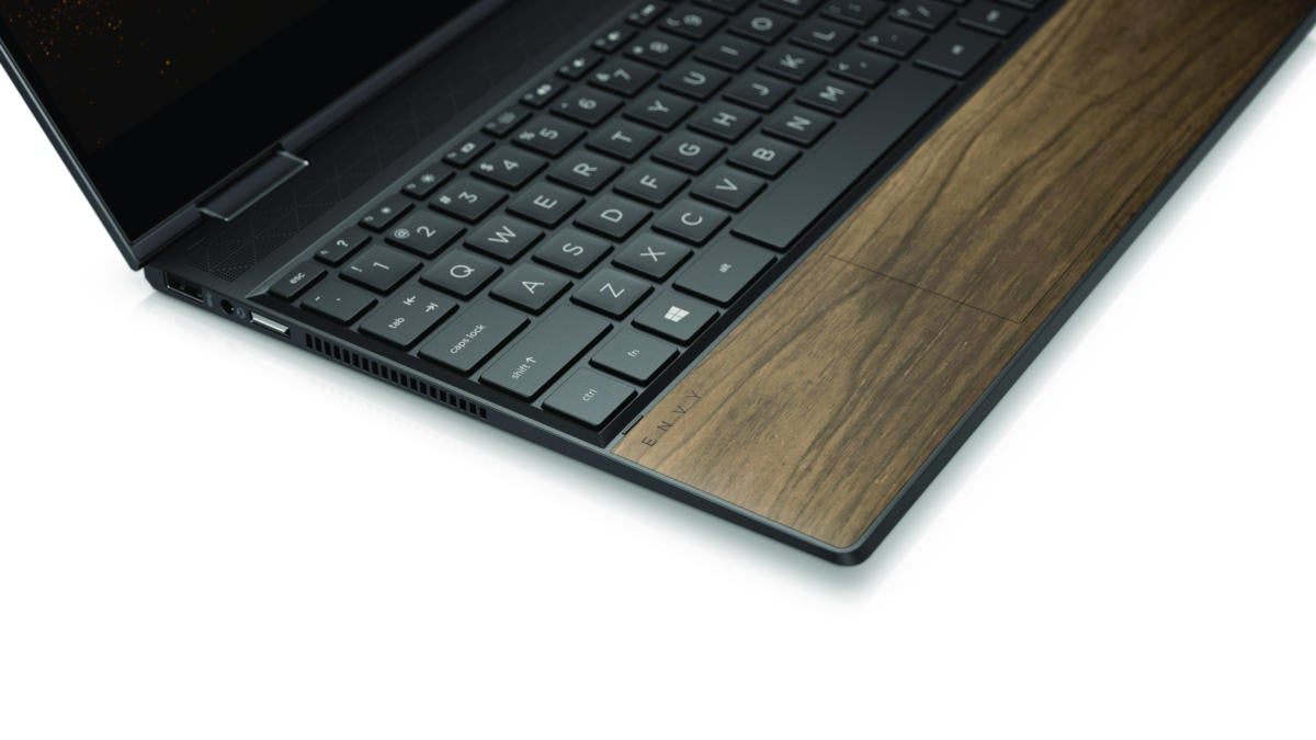 hp envy x360 13 and 15 in nightfall black deck close up