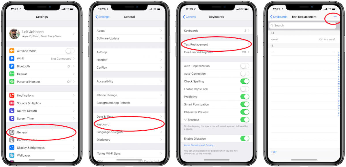 ios how to open text replacement