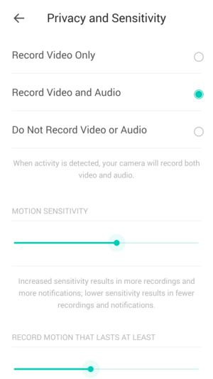 kasa app sensitivity