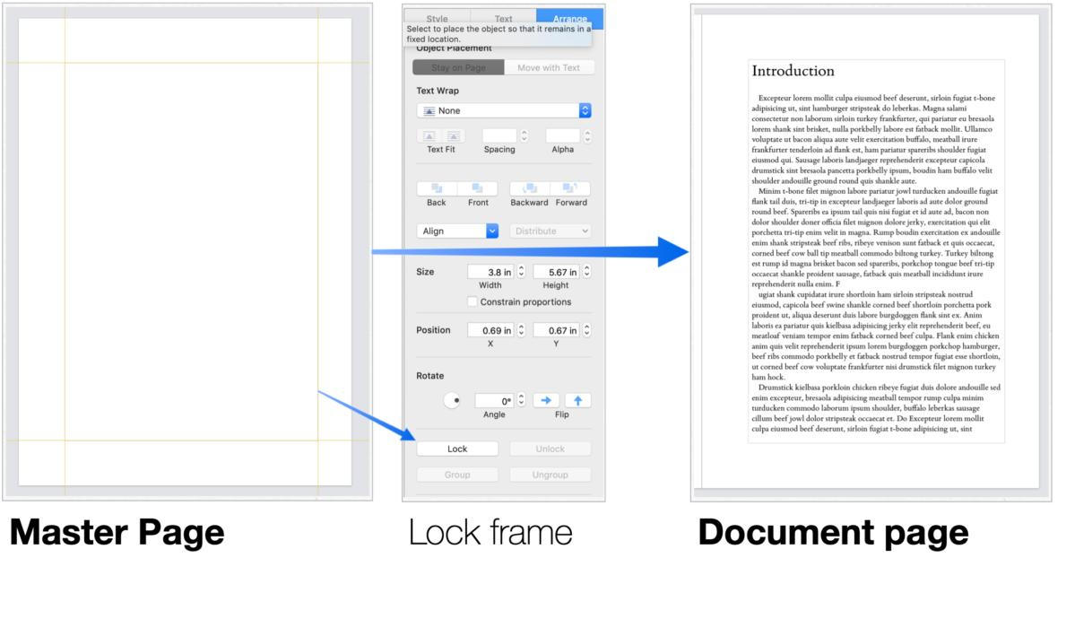 mac911 master page simulate text frame