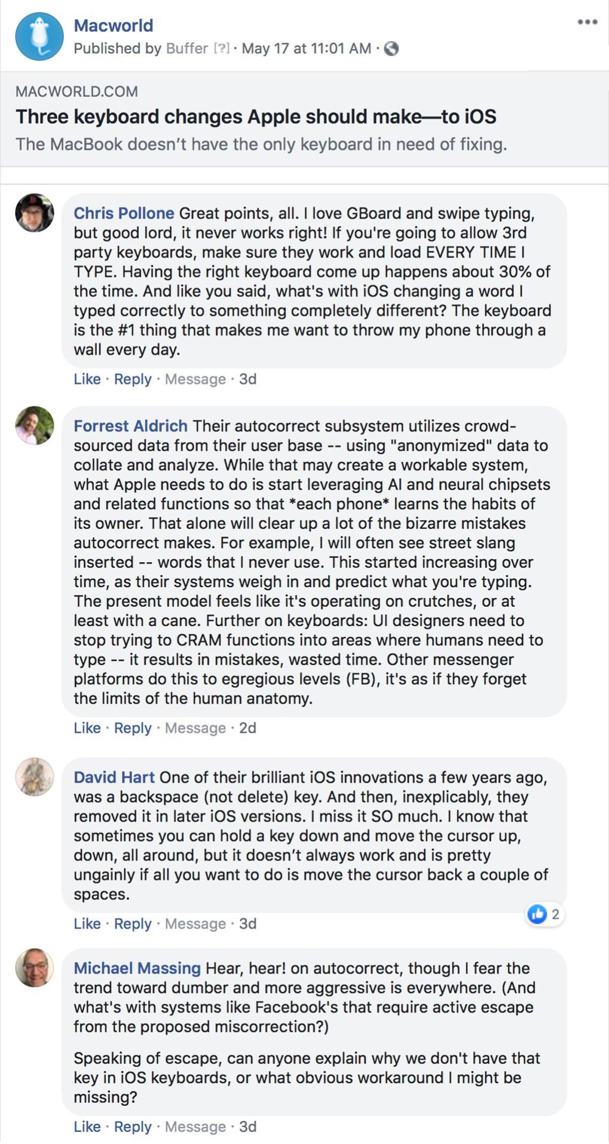 macworld podcast 652 ios keyboard facebook