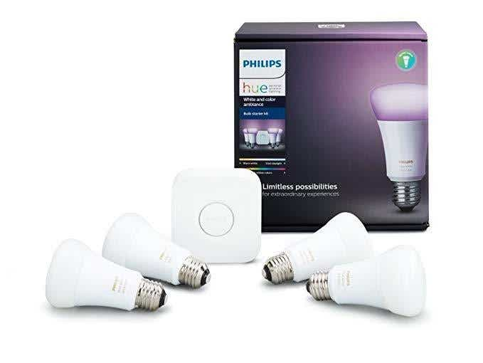 Philips Hue White and Color Ambiance A19 Bulb Starter Kit (Hub and 4 bulbs)