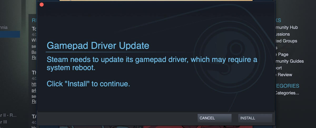 steam link gamepad driver update