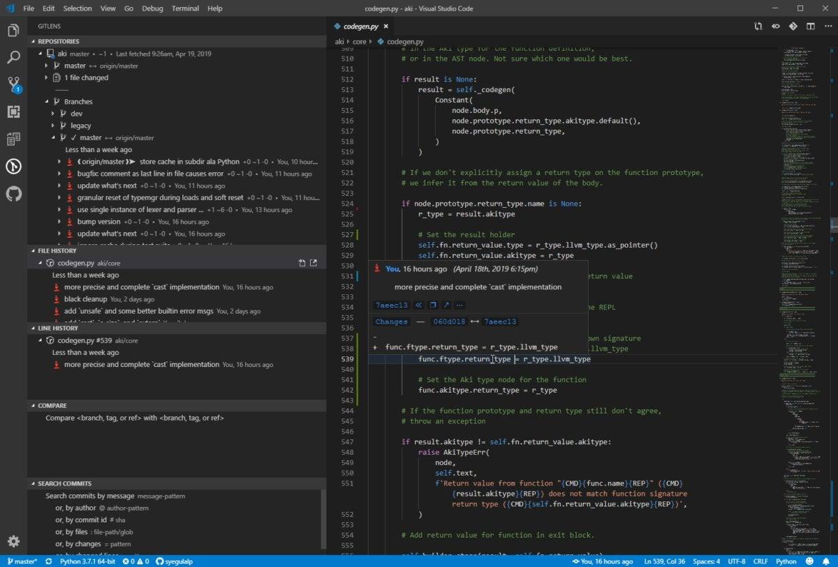visual studio code gitlens