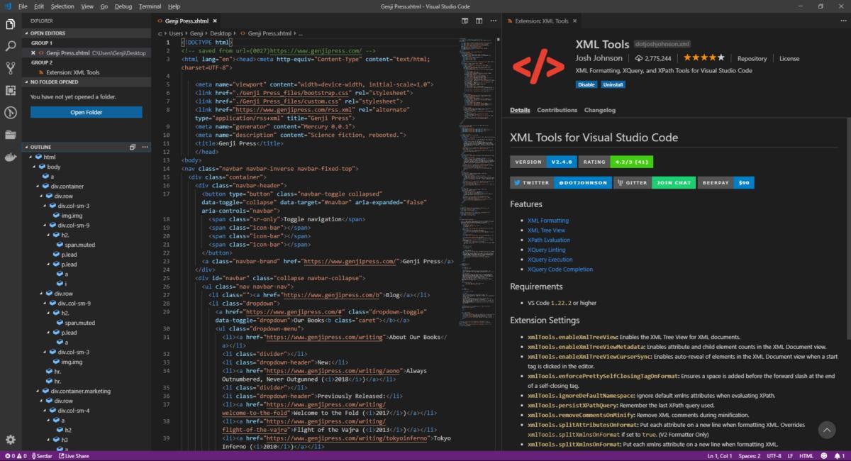 visual studio code xml tools