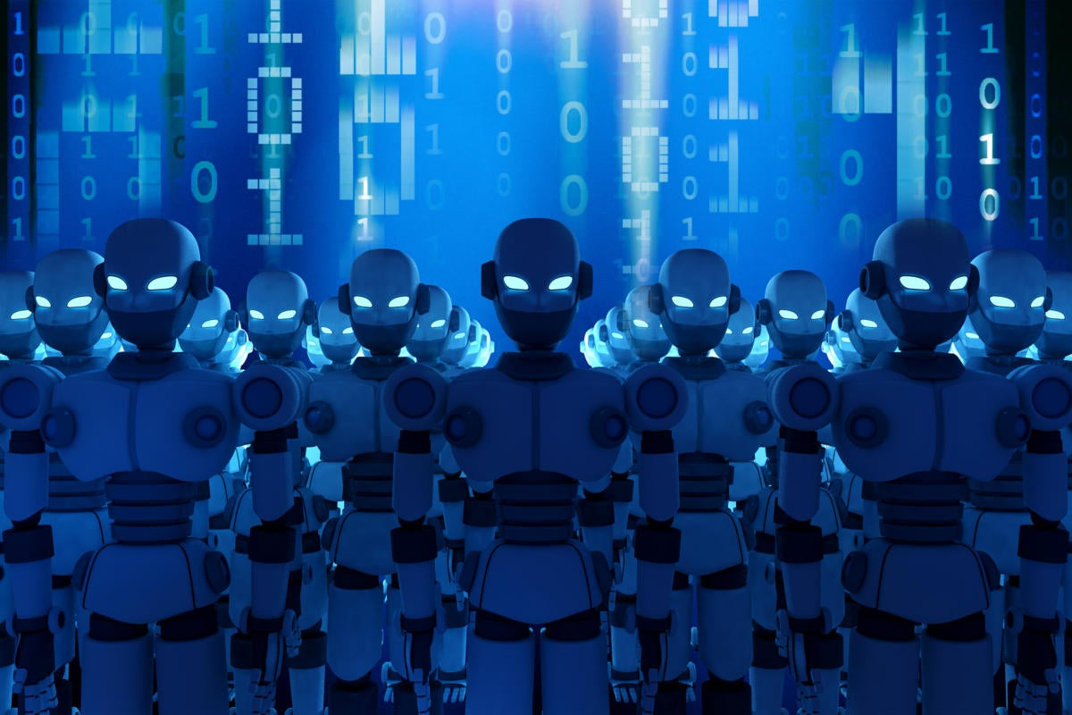 CSO  >  Botnet  >  Robots amid a blue binary matrix