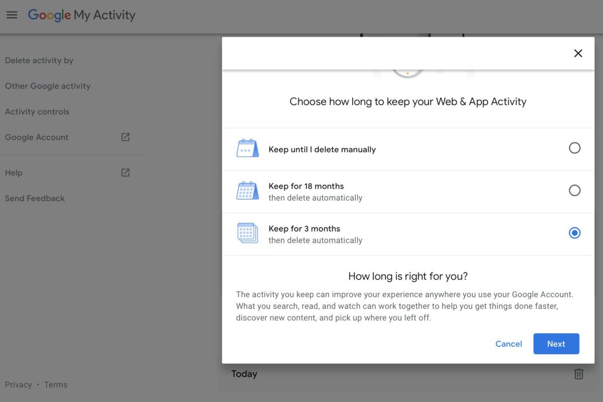 google account web app activity