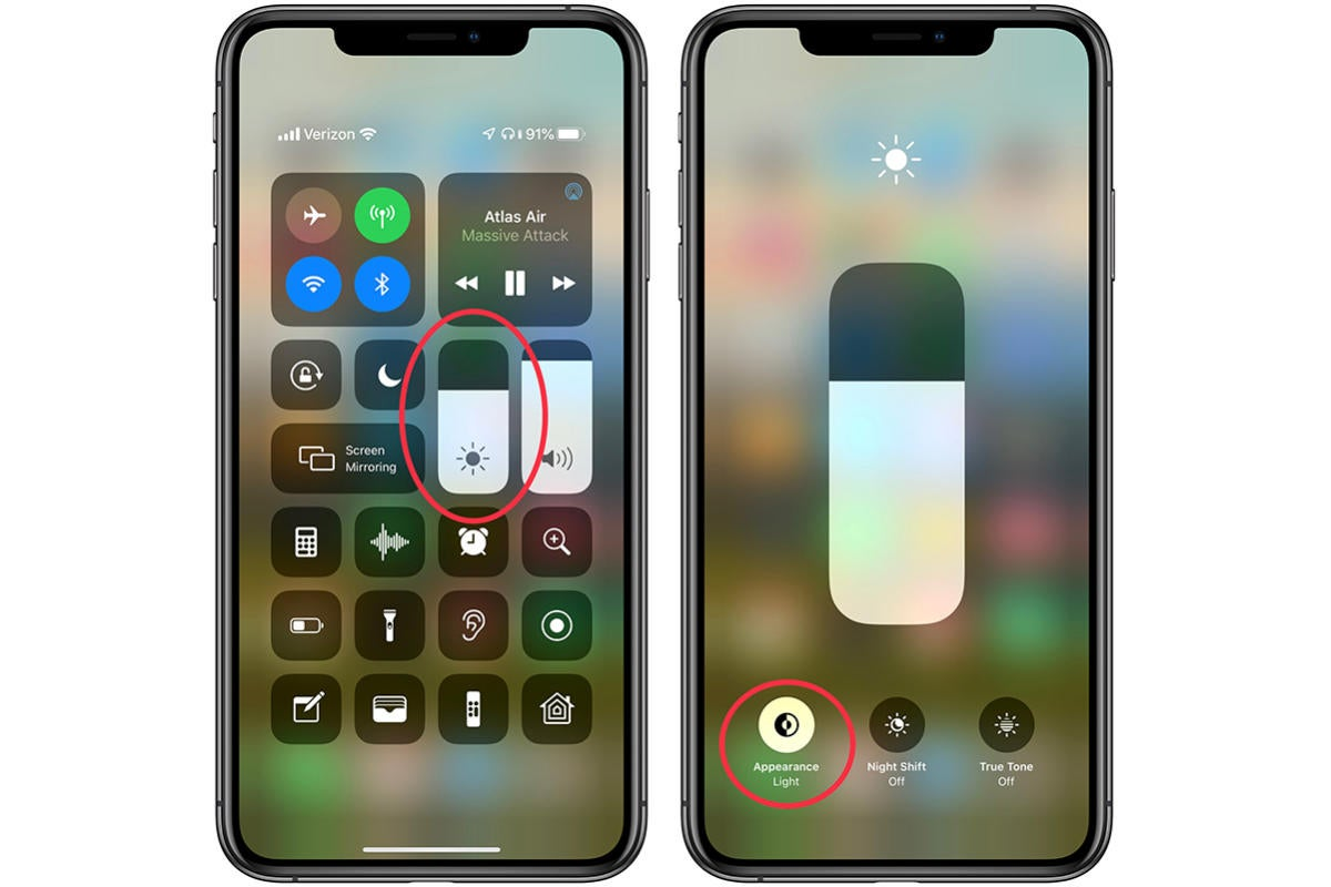 how to turn on dark mode control center