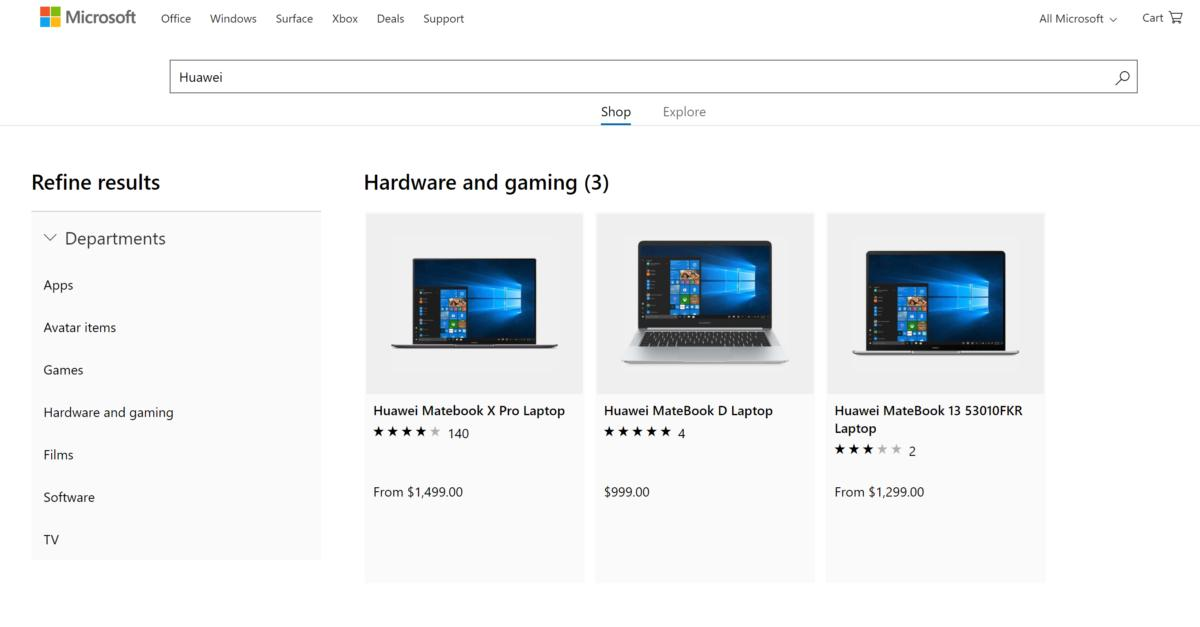 huawei on the microsoft store