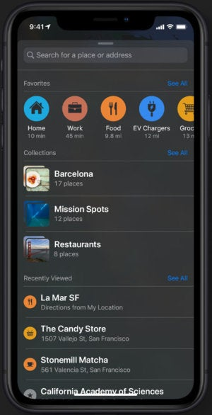 ios13 apple maps favorites