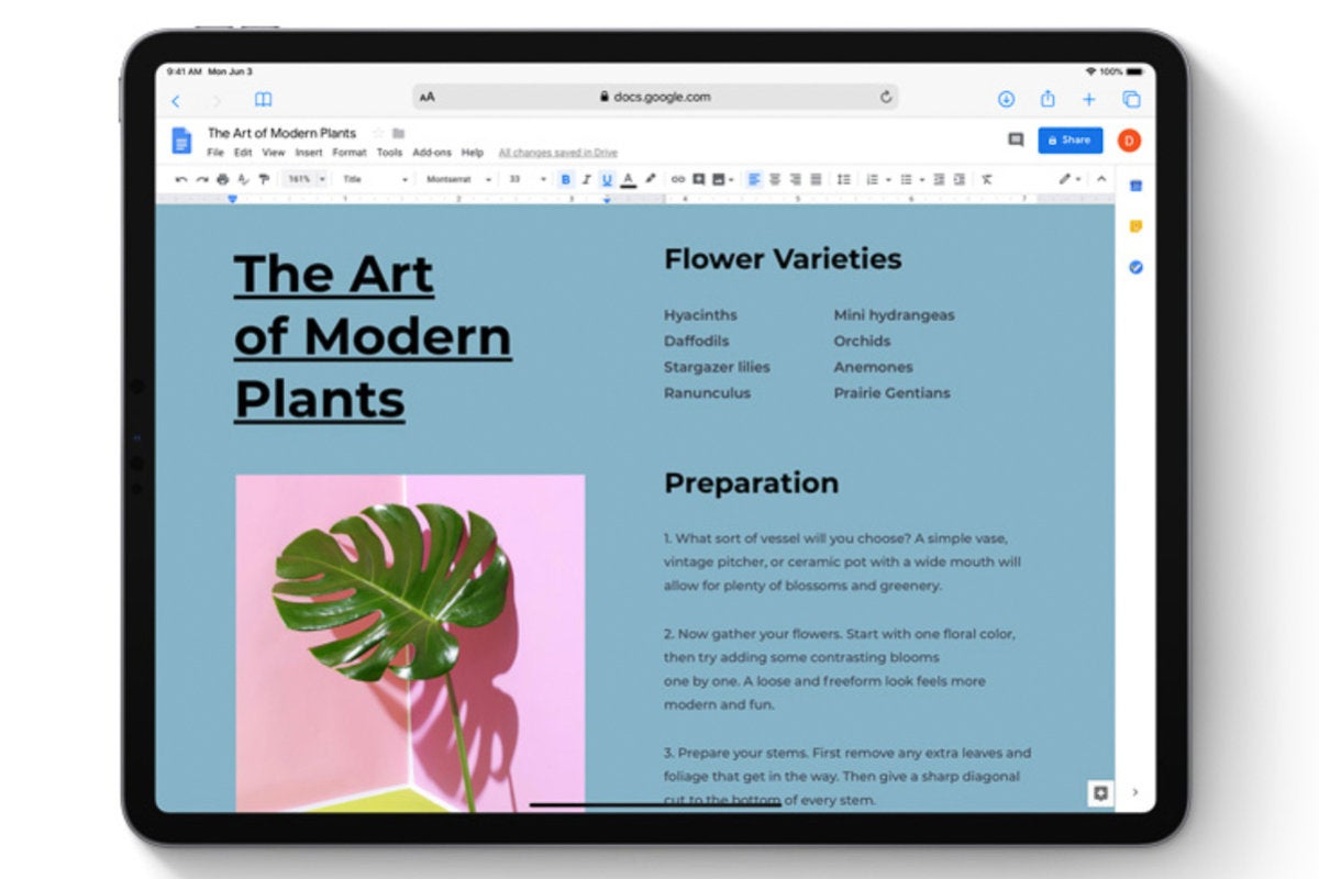 ipados google docs desktop safari