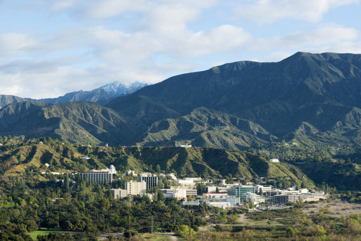 jpl lab with snow in mountains copy