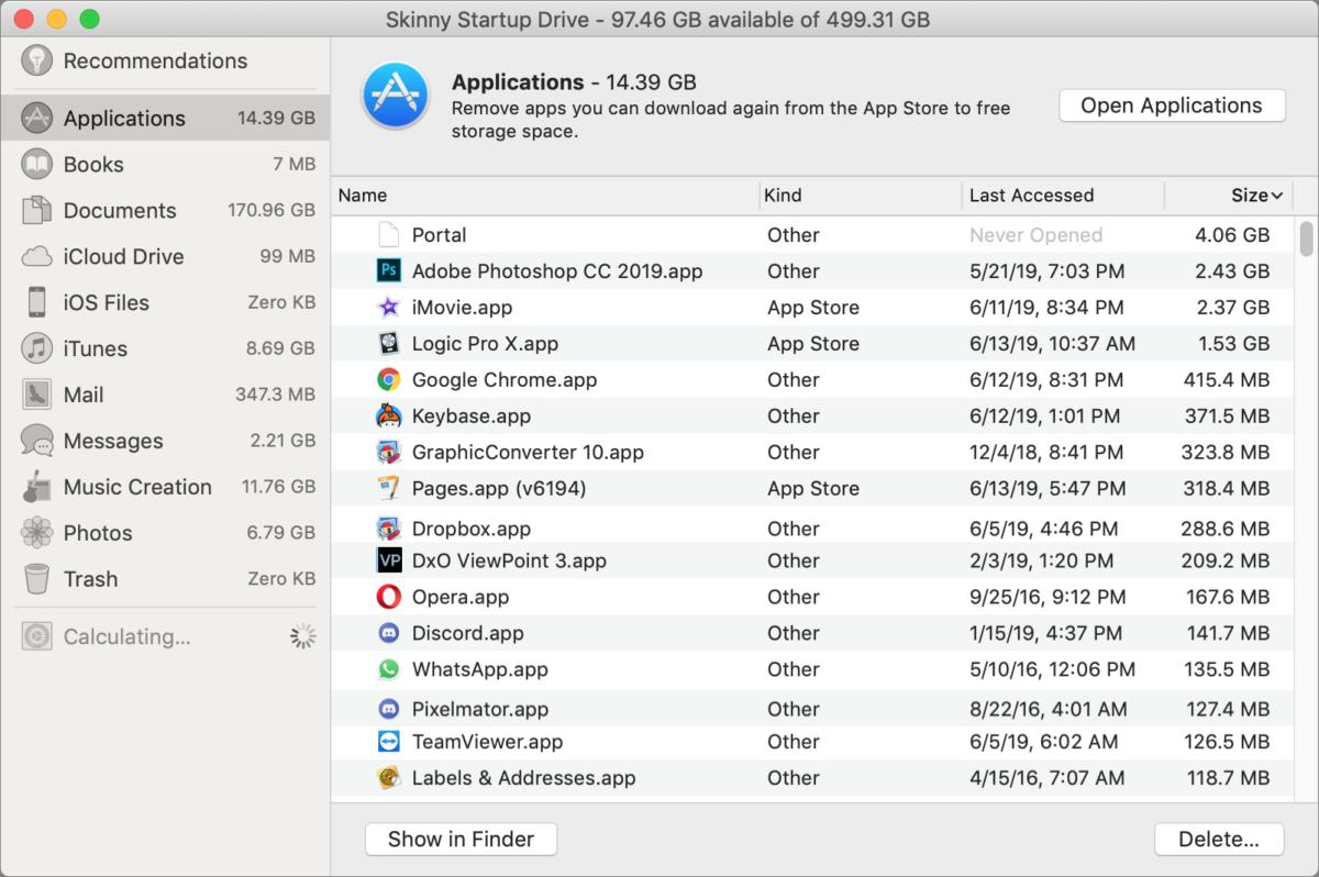mac911 manage storage deletion