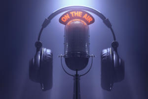 on the air neon on air radio podcast mic microphone headphones