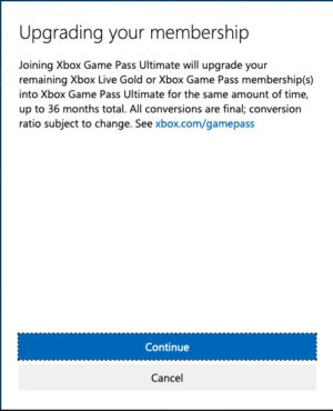 Xbox Game Pass Ultimate upgrade confirmation