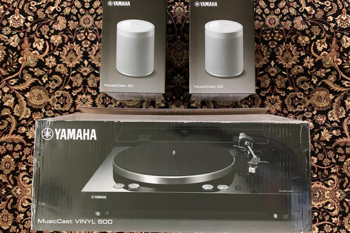 Yamaha sent me the Vinyl 500 with two MusicCast 20 speakers.