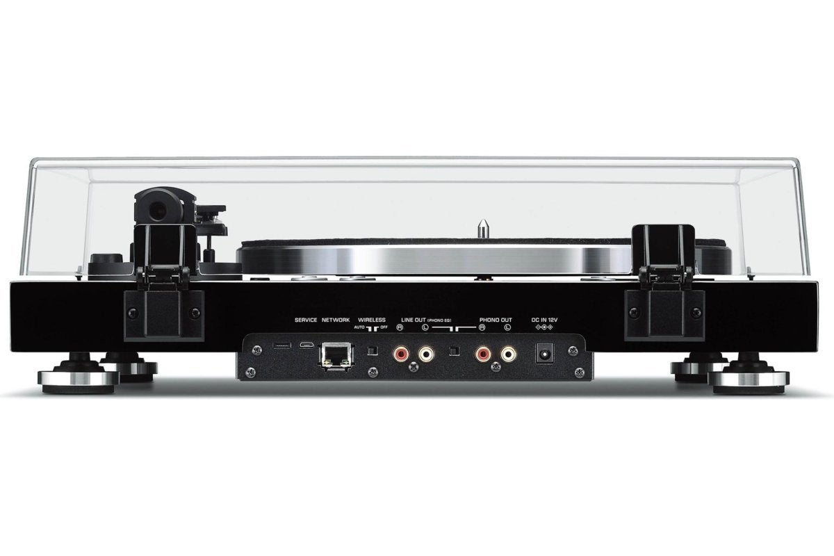 Rear view of Yamaha's Vinyl 500 turntable.