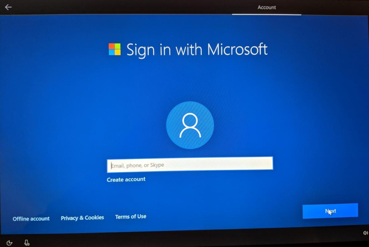 Windows 10 tháng 5 năm 2019 Cập nhật màn hình tài khoản OOBE