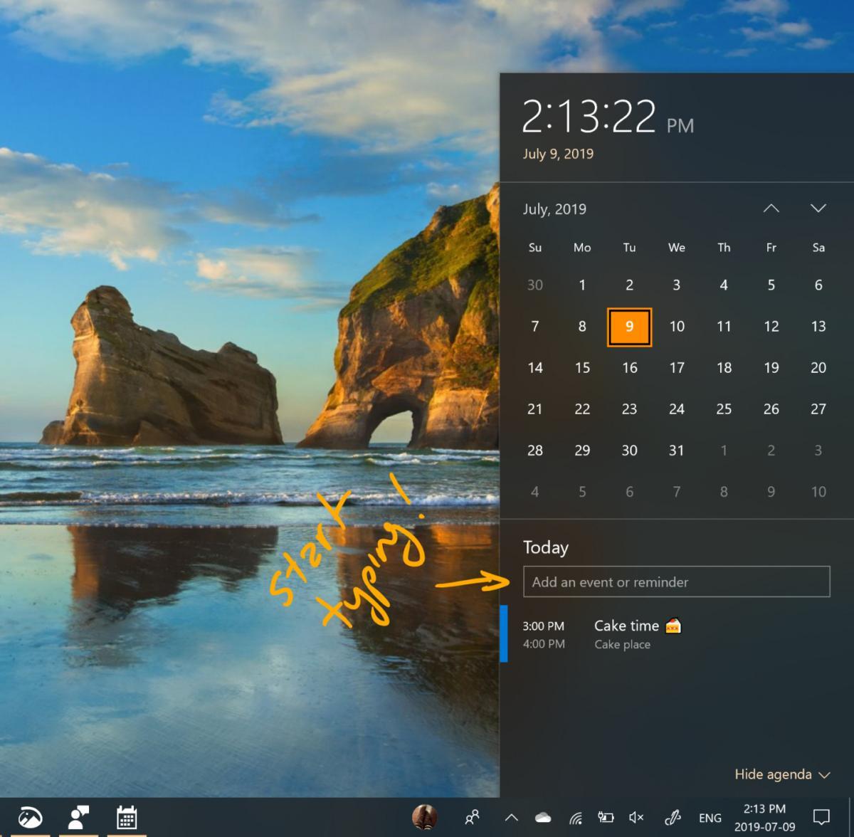 calendar reminders windows 10