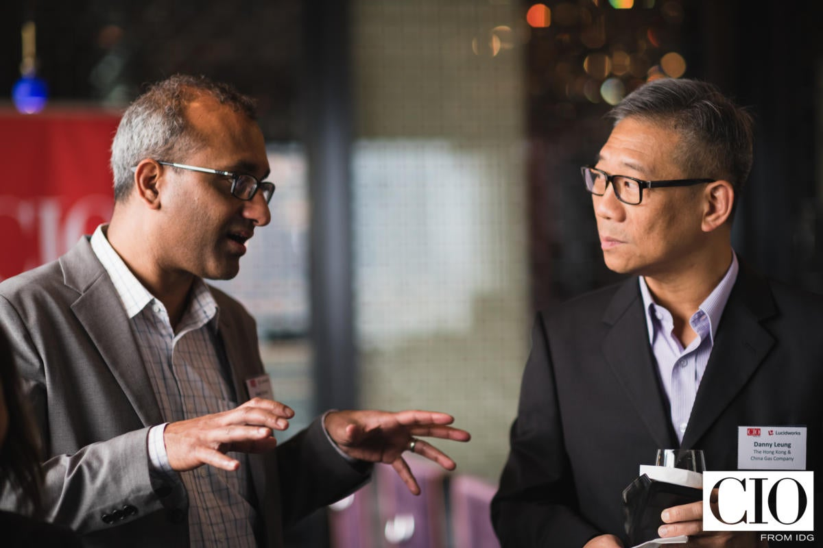 Vivek Sriram, CMO, Lucidworks, and Danny Leung, senior IT manager at The Hong Kong & China Gas Company during the welcome drinks prior to the CIO ASEAN roundtable discussion.