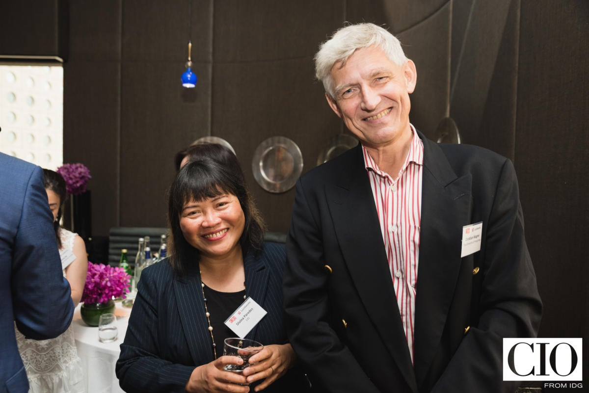 CIO New Zealand editor Divina Paredes and Prof Christian Wagner of the City University of Hong Kong.