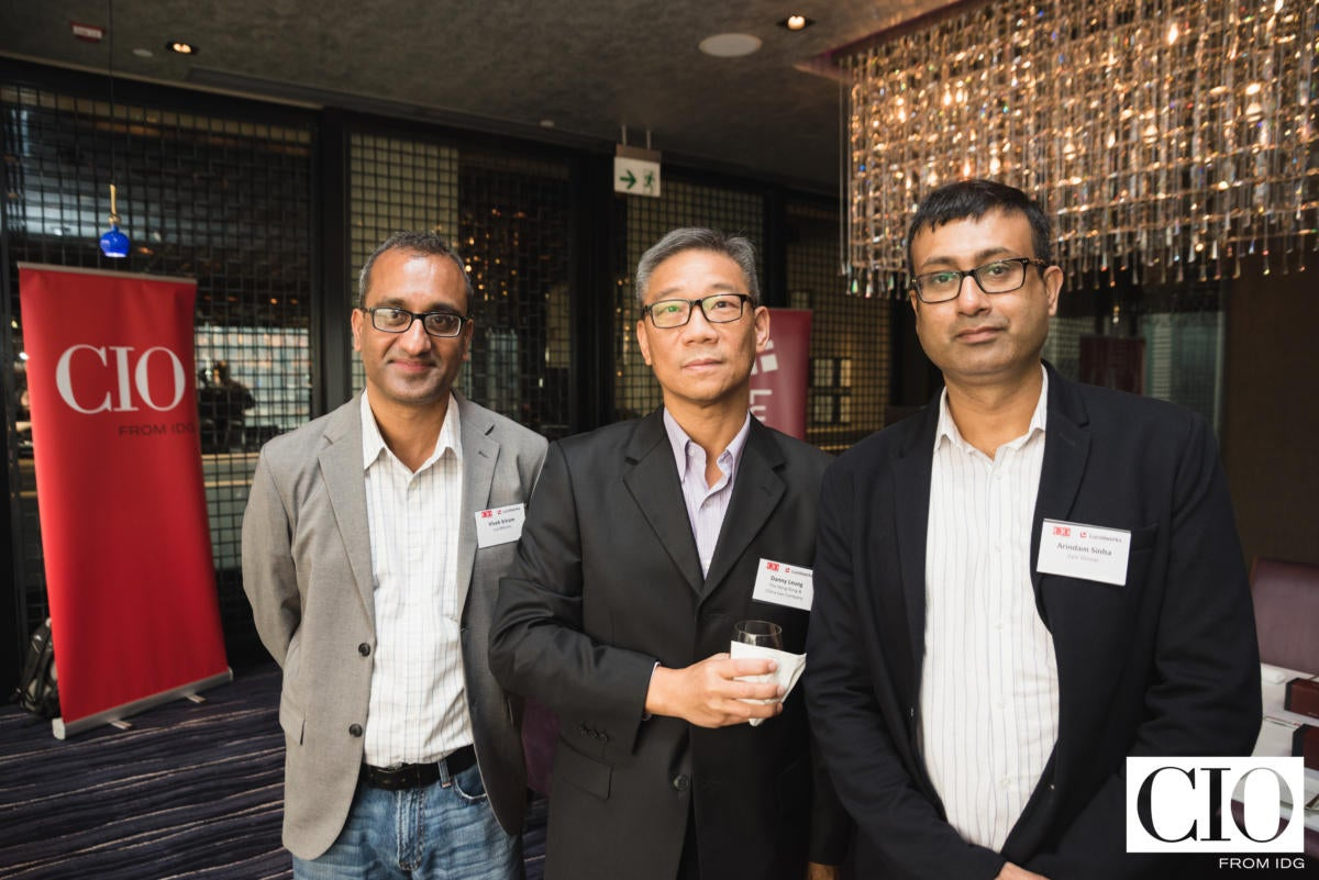 From left: Vivek Sriram, CMO, Lucidworks; Danny Leung, senior IT manager, The Hong Kong & China Gas Company; and Arindam Sinha, group CIO, Epic Group.