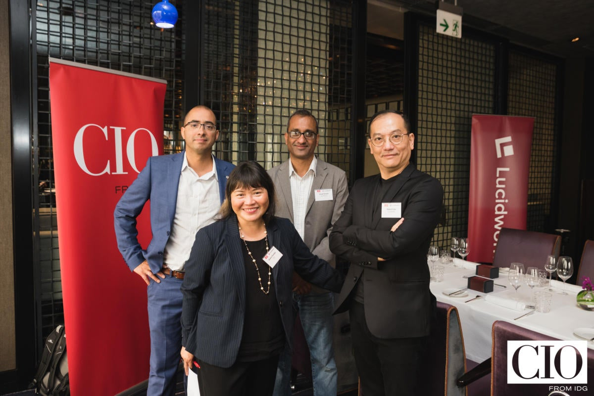 From left: Will Hayes, CEO; Vivek Sriram, CMO; and Robert Lau COO, APAC, of Lucidworks with CIO New Zealand editor Divina Paredes.