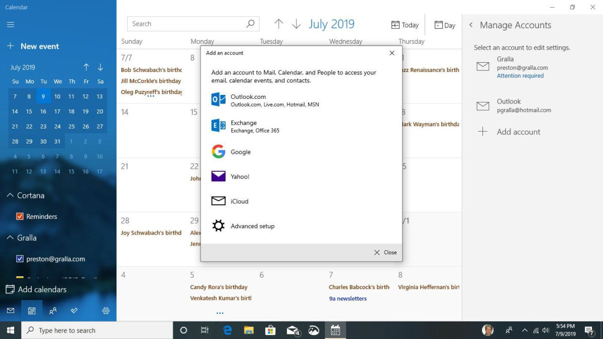 cortana add calendar win10 v1903