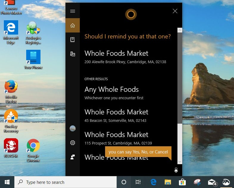 cortana location reminder win10 v1903