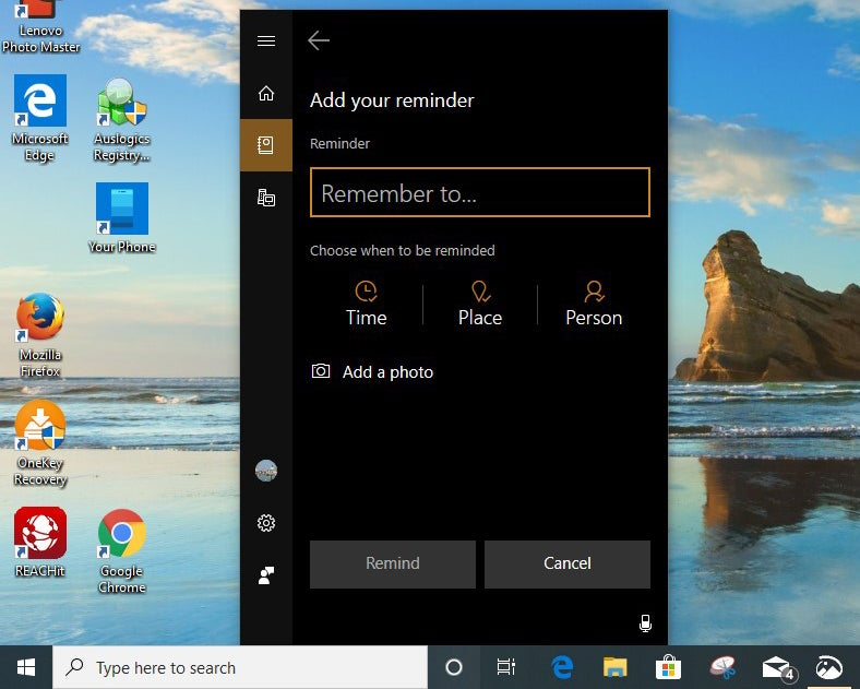 cortana set reminder win10 v1903