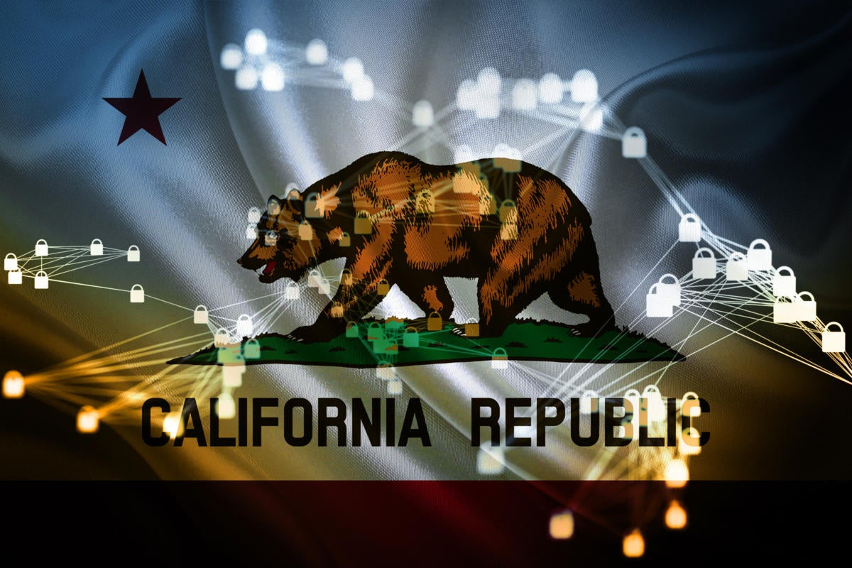 California Consumer Privacy Act  / CCPA  >  State flag / secured data