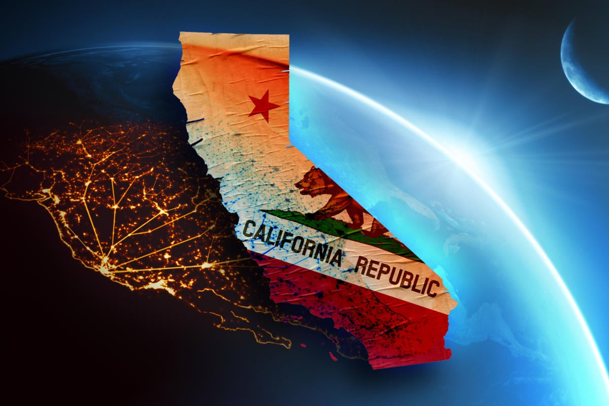 California Consumer Privacy Act  / CCPA  >  State flag superimposed on map and satellite view