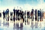 Conceptual image of a network of executives / silhouettes of executives in motion.