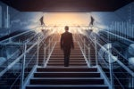A businessman ascends a staircase surrounded by symbols of business and business data.