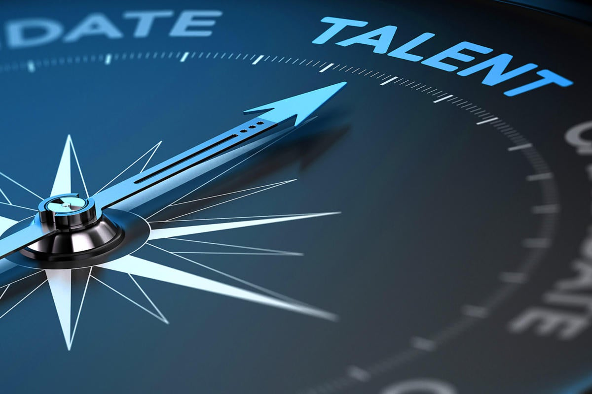 Recruitment  >  Hiring compass pointing toward talent