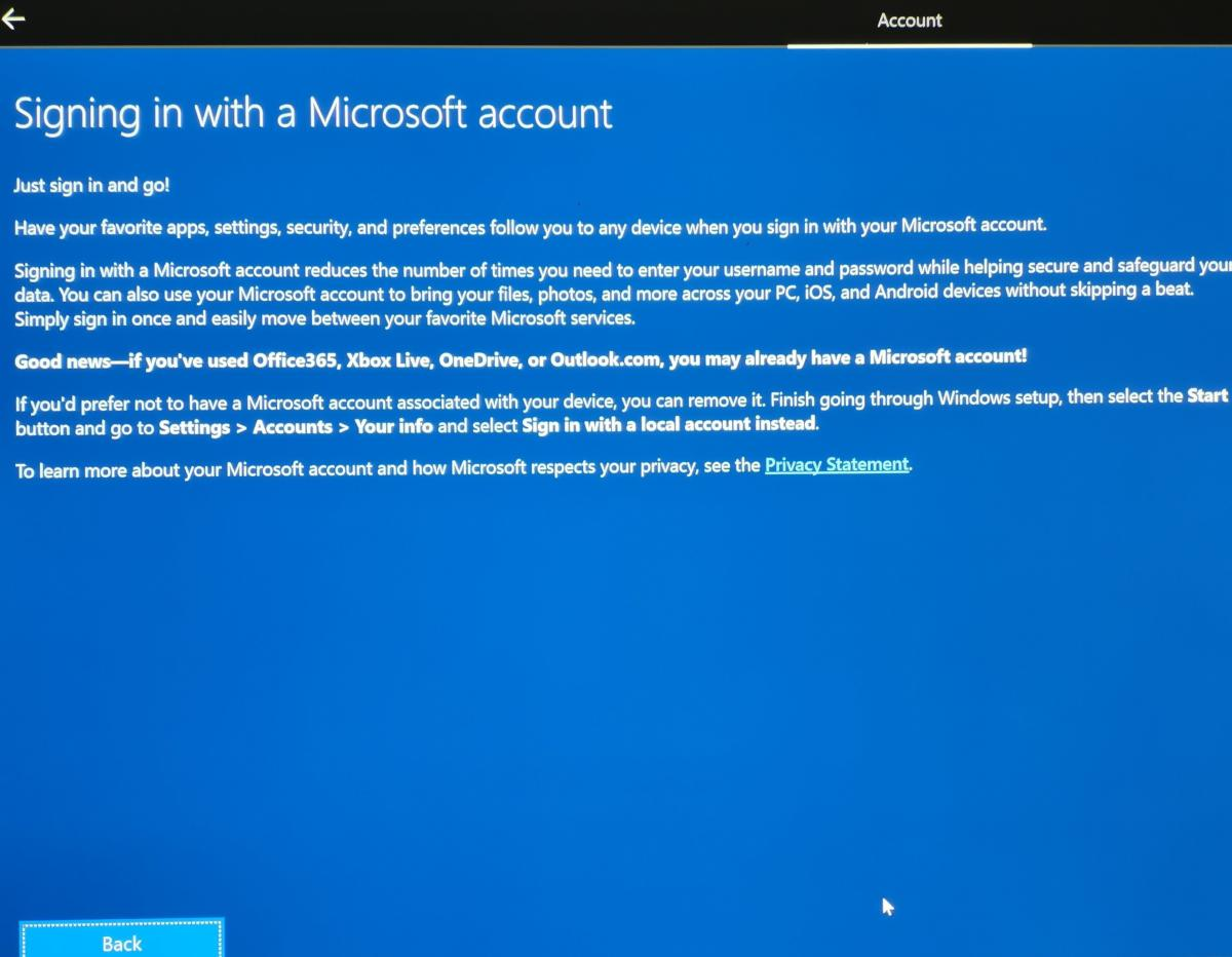 Windows 10 evil monologue Microsoft account