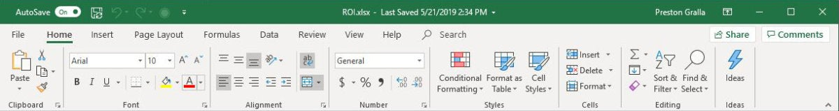 excel office365 ribbon home tab