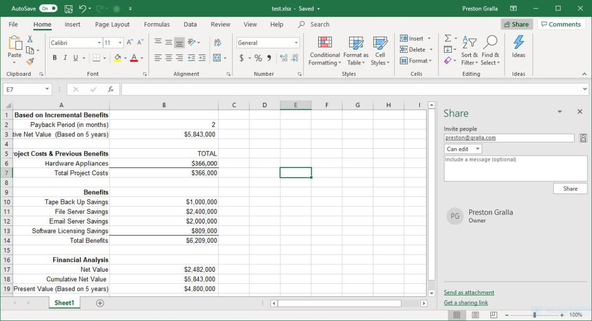 excel office365 share pane