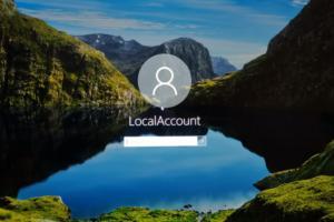 Windows 10 Microsoft local account screen