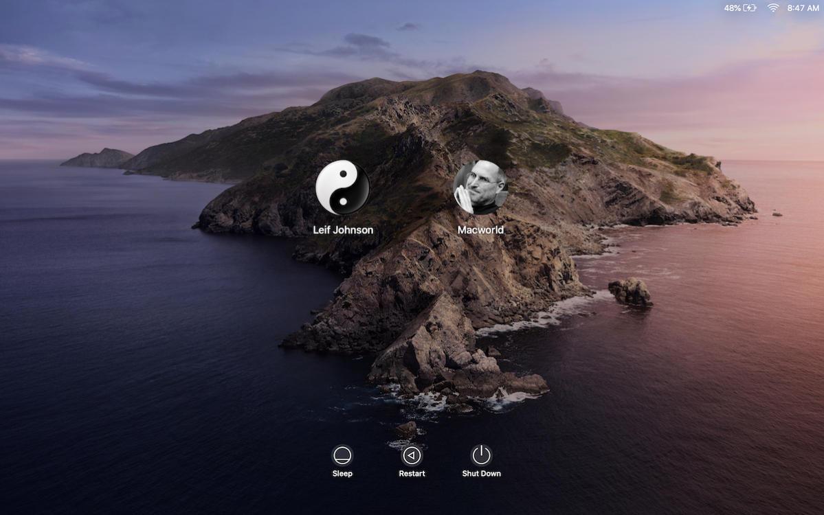 login screen macbook pro catalina