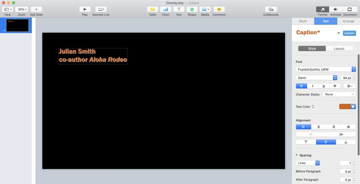 mac911 keynote compose text xparent