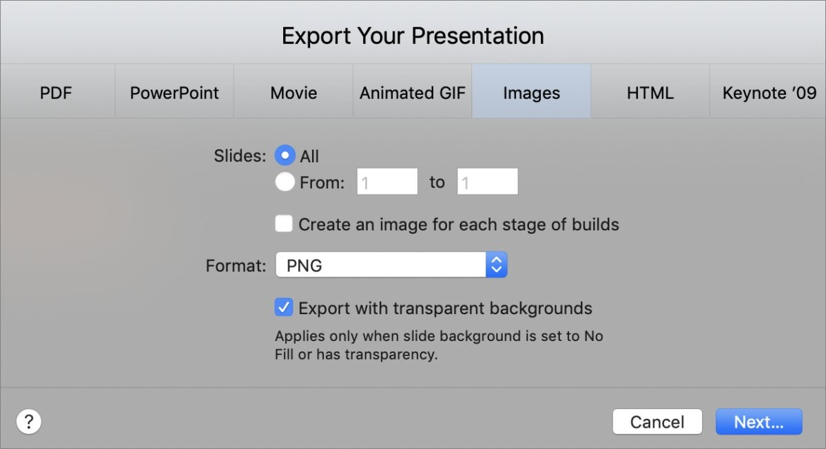 mac911 keynote export xparent