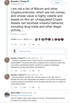 President Trump tweets bitcoin cryptocurrency