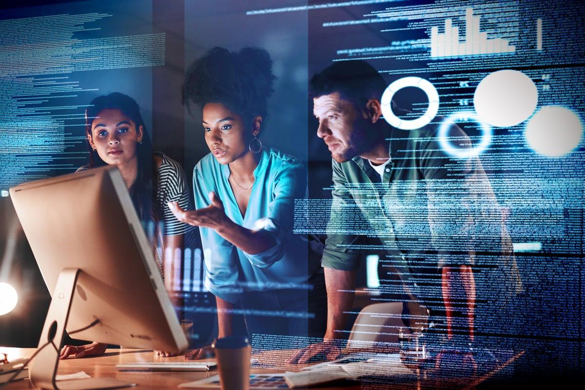 teamwork collaboration / leadership / development / developers / abstract data