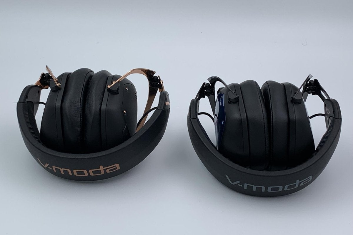 The V-Moda Crossfade M-100 Master (right) folds into the same ultra-compact form-factor as the V-Mod