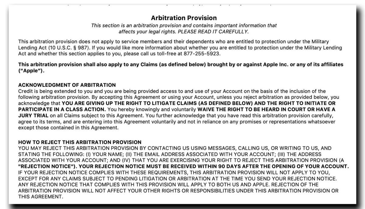 arbitration clause apple card