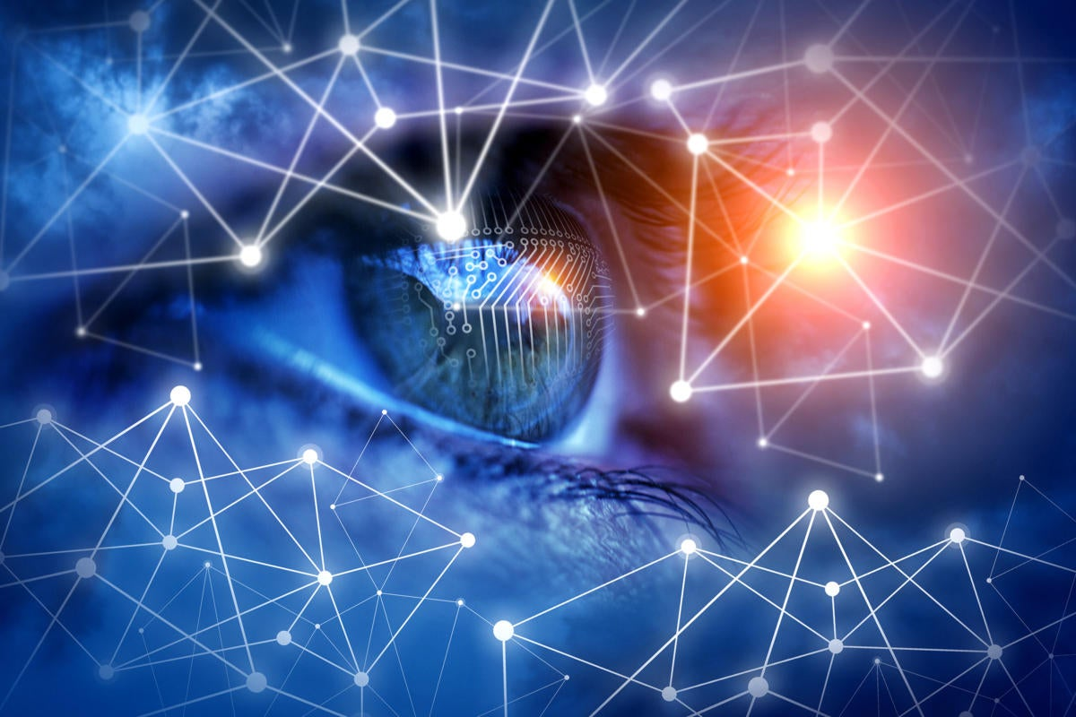 Identity access management  >  abstract network connections and circuits reflected in eye