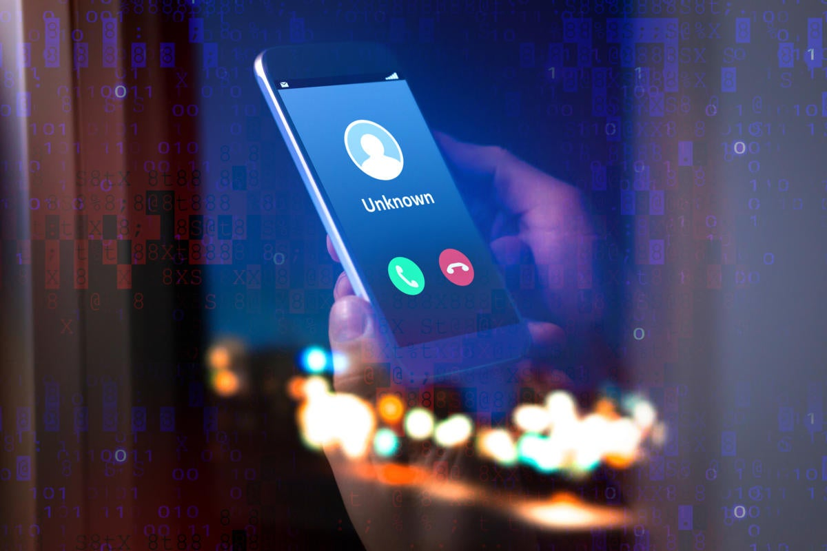 An unknown number calls a mobile phone amid pixelated data.