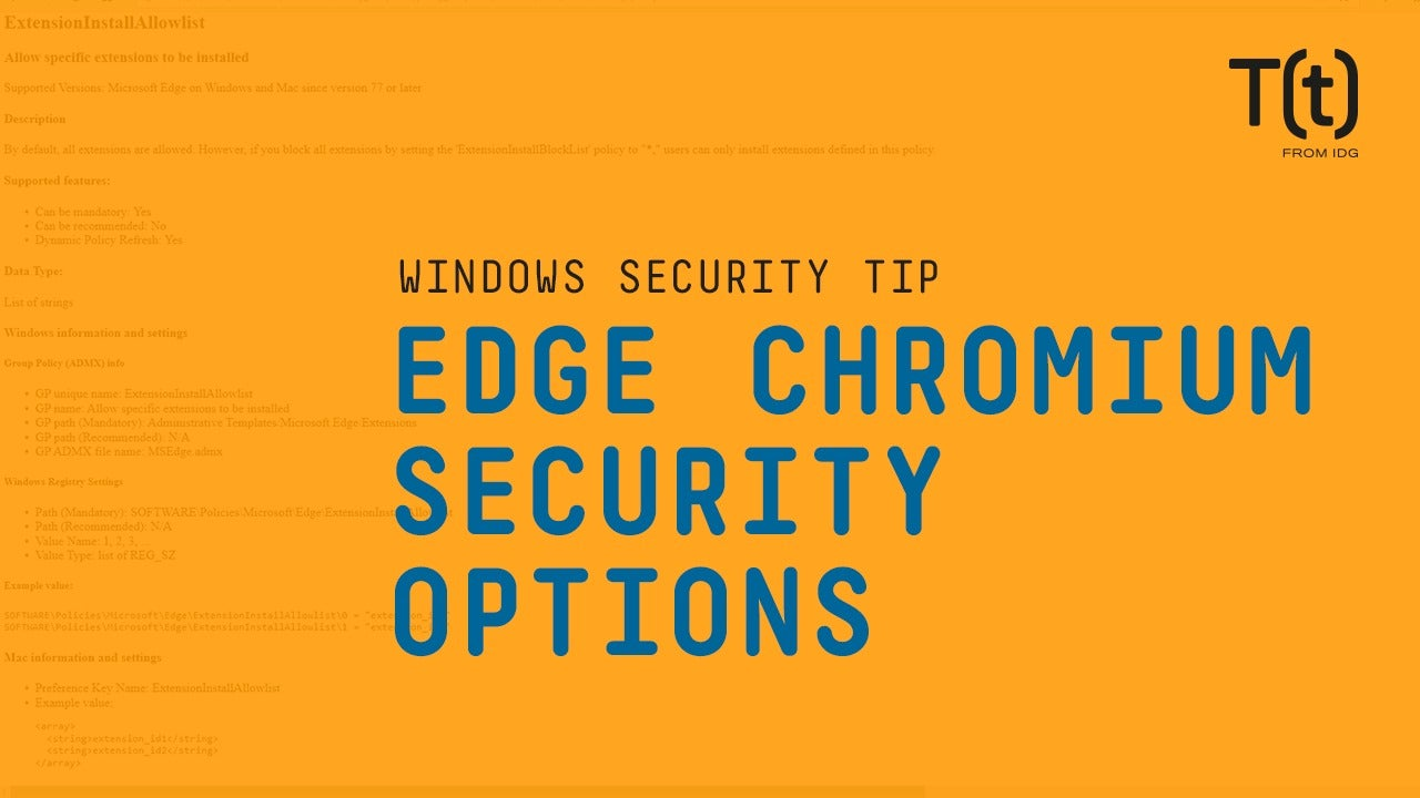 How to set up Edge Chromium security options