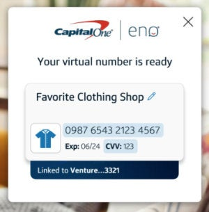 capital one eno virtual card number